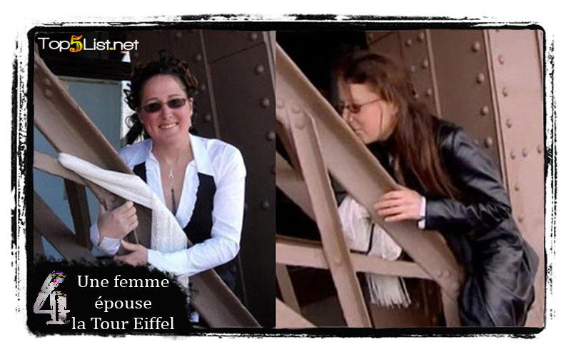 Une femme épouse la Tour Eiffel