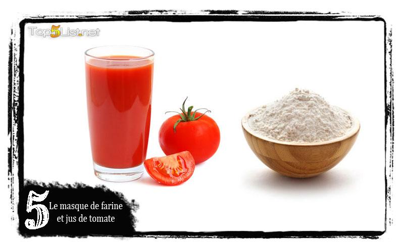 Le masque de farine et jus de tomate