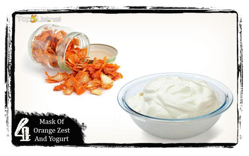 Mask of orange zest and yogurt